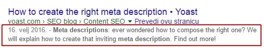 Kako koristiti ključne riječi u meta descriptionu