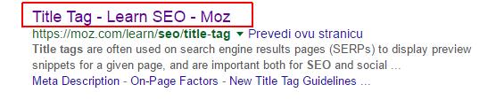 Kako koristiti ključne riječi u title tagu