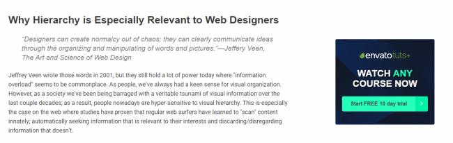 """Primjer web stranice s istaknutim okvirom s """"free trial"""" opcijom"""