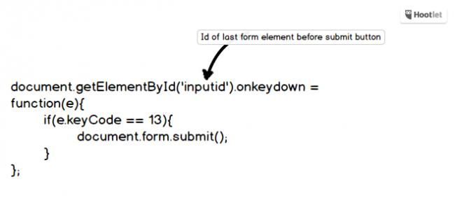 """Primjer Javascript koda koji se umeće na web stranicu kako bi korisnici mogli spremiti formu tipkom """"Enter"""""""