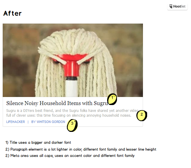 Primjer teksta web stranice s različitim veličinama i tipovima fonta radi naglašavanja namjene